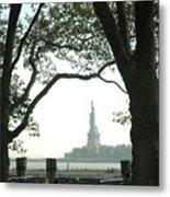 Statue Of Liberty From Ellis Island Metal Print by Frank Mari