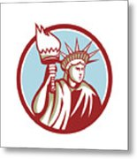 Statue Of Liberty Holding Flaming Torch Circle Retro Metal Print