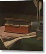 Still Life With Book Papers And Inkwell Metal Print