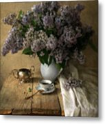 Still Life With Bouquet Of Fresh Lilacs Metal Print