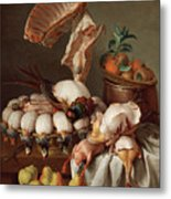 Still Life With Dressed Game, Meat And Fruit Metal Print