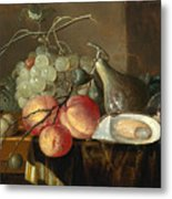 Still Life With Fruit And Oysters On A Table Metal Print