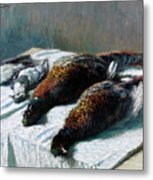 Still Life With Pheasants And Plovers Metal Print