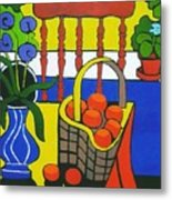 Still Life With Red Chair And Oranges Metal Print