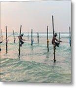 Stilt Fishermen - Sri Lanka Metal Print