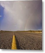 Storm And Rainbow Along The Highway Metal Print