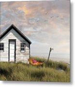 Summer Shack With Hammock By The Ocean Metal Print