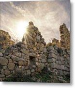 Sun Shining Through A Derelict Building At Occi In Corsica Metal Print