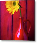 Sunflower In Red Pitcher Metal Print