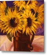 Sunflowers In A Copper Can Metal Print
