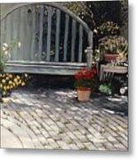 Sunlit Courtyard Metal Print