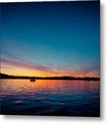 Sunrise Above Lake Water Summer Time Latvia Ezera Skanas Metal Print