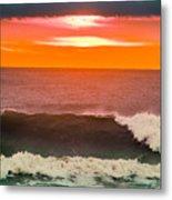 Sunrise Kissing Surf Metal Print
