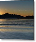 Sunrise Waterscape And Silhouettes Metal Print