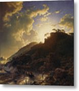 Sunset After A Storm On The Coast Of Sicily Metal Print