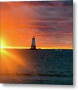 Sunset And Lighthouse Metal Print