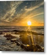 Sunset At Thor's Well Metal Print