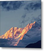 Sunset On Mount Kanchenjugha At Dusk Sikkim Metal Print