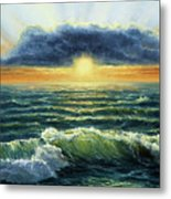 Sunset Over Ocean Metal Print