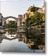 Sunset Over The Famous Mostar Bridge Metal Print