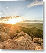 Sunset Over The Mountains Of Flaggstaff Road In Boulder, Colorad Metal Print