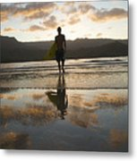 Sunset Surfer Metal Print by Kicka Witte - Printscapes