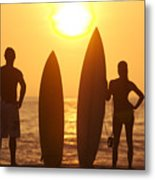 Surfer Silhouettes Metal Print