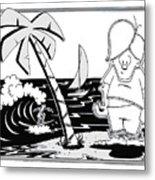Surfer Toon 4 Metal Print