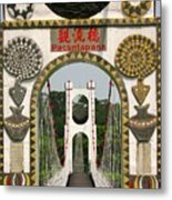 Suspension Bridge With Tribal Decorations Metal Print