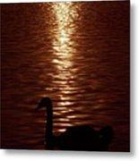 Swan Silhouette Metal Print