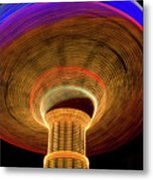 Swing Amusement Ride At Night Metal Print