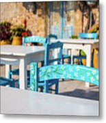 Tables In A Traditional Italian Restaurant In Sicily, Italy Metal Print