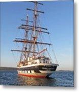 Tall Ship Anchored Off Penzance Metal Print