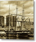 Tall Ship In Baltimore Harbor Metal Print