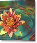 Teal And Peach Waterlilies Metal Print