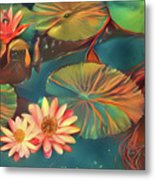Teal Waterlilies 8 Metal Print