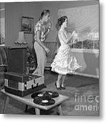 Teen Couple Dancing At Home, C.1950s Metal Print
