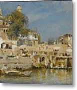 Temples And Bathing Ghat Metal Print