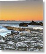 Tessellated Rock Platform And Seascape Metal Print