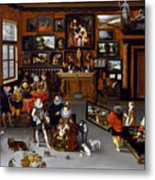 The Archdukes Albert And Isabella Visiting A Collector's Cabinet Metal Print