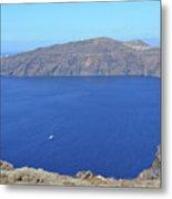 The Beautiful Caldera In Santorini, Greece With The Aegean Sea Metal Print