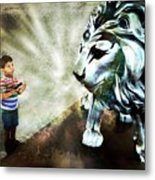 The Boy And The Lion 3 Metal Print