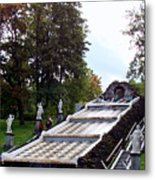 The Chessboard Hill Cascade Fountain On The Grounds Of The Peterhof Palace Metal Print