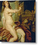 Panthea Stabbing Herself With A Dagger After The Death Of Her Husband Abradates Metal Print