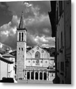 The Facade Of The Duomo With Mosaic And Eight Rose Windows And The Campanile Spoleto Umbria Italy Metal Print