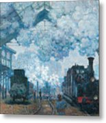 The Gare Saint-lazare Arrival Of A Train Metal Print