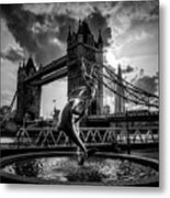 The Girl And The Dolphin - London Metal Print