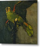 The Green Parrot Metal Print