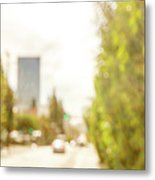 The Hedge By The Sidewalk During Day In The City Of Los Angeles Metal Print