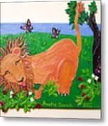 The Lion Who Loves Strawberries Metal Print